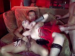 Dani Jensen gets her mouth stretched by meaty rock hard snake of horny dude