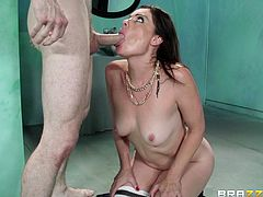 Sovereign Syre gets her mouth and pussy fucked deep in public WC
