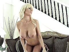Tanya James with massive knockers gets the pleasure from pussy stroking