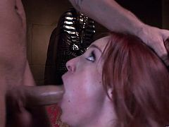 Gorgeous cowgirl face fucking a big cock then gives it a steamy blowjob before yelling in ecstasy as she gets drilled doggystyle