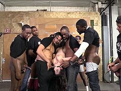 Horny Brunette With Natural tits and Long hair poses for a pic with her fellows who fondle her all over she does multiple handjob in an Interracial Gangbang