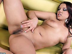 Brunette Angel Rivas gets naked and fucks herself with sex toy
