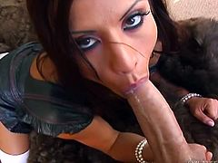 Astounding MILF in sexy stockings giving the huge cock a sensual handjob then a terrific blowjob till he cums in her mouth
