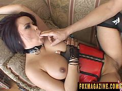 Lovely Brunette with Natural Tits and in Stockings shows her Hot Ass gives awesome Blowjob then gets her Anal slammed on Close Up