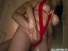 If Asian bitches number among your favorite sluts, click to add sexy Momono with oiled body to this top! The brown-haired lady offers an incredible blowjob to her lover. The tit job and the face sitting scenes are also really crazy. Click to watch the horny couple getting loose in bed!