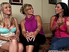 Cfnm femdom Nikki Sexx testing cocks with her hungry pals Veronica Rayne and Alana Evans