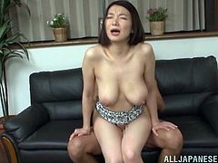 Impressive mature Asian with natural tits and long hair getting her hairy pussy fingered erotically then gets smashed hardcore