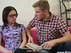 The nerdy bitch with glasses from this video decides to live the moment and forget for a while about the book she's reading. Click to see her hurrying up to undress on the comfortable couch. The hungry guy seduces her easily with a great oral sex. She's clearly having a wonderful time. See details!