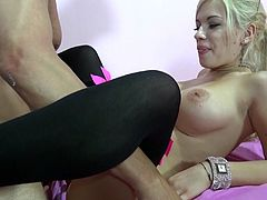 This naughty stud loves to have his huge cock played by a hot porn beauty for a hardcore POV blowjob in a hot orgasm.