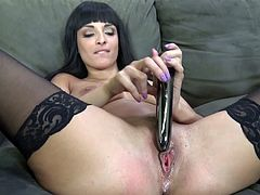 brunette with long hair and in stockings masturbates nicely using toy her pussy licked and fucked doggystyle in reality scene