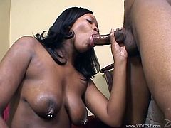 Sensuous ebony brunette with big natural tits and big ass in high heels giving an exotic deep throat blowjob before getting screwed