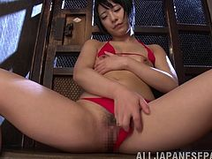 Marvelous Asian dame with short hair in bikini pose lovely before getting tied with a rope and getting worked on using a huge vibrator