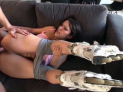 Samia Duarte deepthroats the photographer´s cock before letting him bend her over and fucking her senseless.
