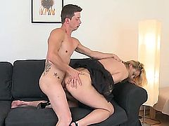 young guy is tired but is activated by a mature woman with saggy tits