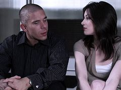 Fine looking brunette with hairy pussy giving her horny guy handjob before getting smashed hardcore doggystyle in a reality shoot