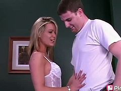 Pink Visual Pass brings you a hell of a free porn video where you can see how this hot blonde milf gives her man a great blowjob while assuming very interesting poses.