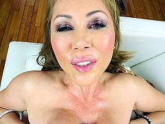 Kianna Dior is a hot Asian milf who has one of the biggest pairs of tits you have ever seen. She oils up her massive mammaries and slobbers all over those boobs to get it ready to be thrust in between her huge boobies. Watch as I plaster her lips and face with streams of hot, sticky semen.