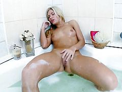 Completely cute honey with tiny boobs and clean twat gets naked and masturbates with sex toy