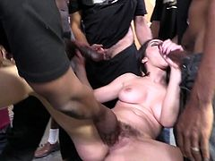 Valentina Nappi enjoys interracial gangbang indoors