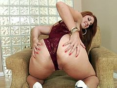 Rose is craving for a big cock to make her vibrate. She is wearing sexy red lingerie and loves showing her crazy buttocks to the camera. The redhead slutty babe succeeds in making her partner's cock really hard and ready to penetrate her from behind. The bitch on high heels really appreciates a good rim job!