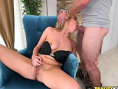 Don't you find it sexy when hot blonde-haired bitches undress and play dirty with themselves in a provocative manner? Click to watch slutty Cadence taking off her panties and bra, before spreading widely her attractive long legs. Her small bush is a huge turn on. See her fingering pussy, while sucking dick!