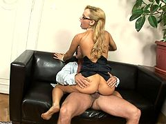 horny blonde with natural tits and long hair in glasses gets wild as she is pounded massively and cums on her pussy in office