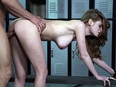 Beautiful dame unpins her jeans then giving huge dick tits job and getting fucked hardcore till the he cums in her mouth in the locker room