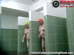 Hidden camera - naked girls taking shower after swimming pool
