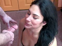 Elegant black haired wife Cleo Leroux is down onto A floor and swallowing the thick rod