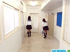 Watch these two sexy brunette Japanese teen schoolgirls in this hot video.These two naughty babes thought that they were alone to do anything.See how they are kissing each other but soon they find a dude with long cock in front of them.See how they both sits on there knees and sucks on it!