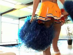 Tall and slender blonde Juelz Ventura wearing a cheerleader uniform seducing her athlete lover. They started by giving him a sweet blowjob and get fucked in missionary.