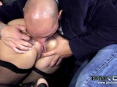 A horny brunette girl with curly hair dressed up in sexy lingerie and wearing an evening subtle makeup gets in a dirty game in the presence of two guys. The hot Italian beauty sucks cock while enjoying an exciting rim job. See the scenes when Giulia is a reverse cowgirl or when she's banged hard from behind!