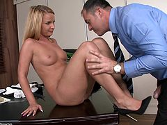 cute blonde with natural tits and long hair in miniskirt offers hot blowjob then gets nailed doggystyle in office and cums in her mouth
