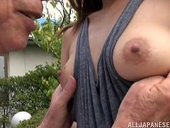 craving japanese bitch with natural tits gets her hairy pussy licked then pounded hardcore by grandpa in old vs young action
