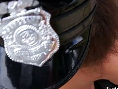 Hungry for cock police officer gets huge facial cumshot after deepthroat blowjob