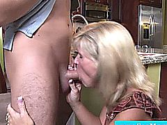 Mature milf handjob and blowjob in kitchen with some deepthroat