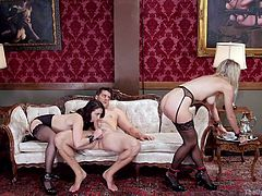 All the milfs from The Upper Floor look for a mixture between pain and pleasure. In the video, Amanda and Mandy entertain a horny dick. The brunette bitch is available also for doing it in the anal way. Click to watch her sucking the guy's cock. Enjoy the kinky details!