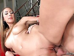 Abigaile Johnson takes it in her love tunnel after Alan Capiers dick becomes stiff and hard