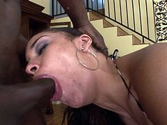 Beautiful ebony with natural tits pose while displaying her black butt before giving big black cock blowjob till the he cums in her mouth