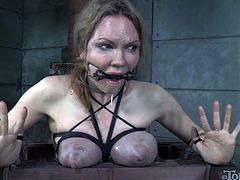 Tied up slut with squeezed boobies gets her pussy punished hard