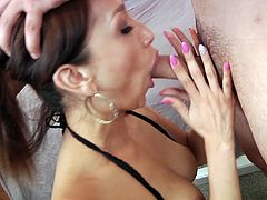 Vicki Chase shows her hot body and gives a deepthroat blowjob
