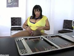 Betty Black was in the office ask one of her employees with hard boner to fuck her black pussy with his big black cock and make her dripping wet with her pussy juice.