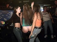 Hotties in thongs shake their asses at a club party
