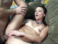 cowgirl with natural tits gives brilliant blowjob and her juicy pussy licked whlie fingered then rides cock in her anal hardcore scene