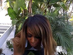 This gorgeous black tranny is out in the driveway, working up a sweat and lifting her weights. Her man comes over to see her and soon her tits are out. They kiss and he grabs her booty. The sexy ebony babe's cock is sticking through her legs, as he rims her.