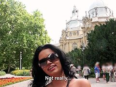 I was walking down the street in Bucharest, when I spotted this sexy looking whore. She looked hot in her flower print dress and shade. Her long black hair made her so enticing to me. After chatting her up, she took me to the park, where she sucked my cock in a wooded area.