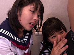 Two horny Japanese schoolgirls with tight bodies lock themselves in a toilet where a horny cock accompanies them to play a dirty game which involves facesitting, riding cock and fucking from behind. Dare to get amazed by these petite sluts' big sexual appetite! These hardcore scenes are extremely exciting.
