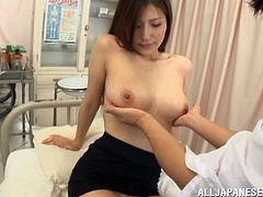 If you're interested in hot Asian babes, click to see this horny Japanese lady, getting aroused by a lusty student, who's lucky to be around her. The sexy brunette has wonderful tits, which she loves to expose with no shame, allowing her admirer to suck and squeeze them. Watch the guy play with teacher's tits!