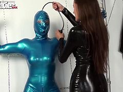 Tanja gets tied up and felt up by the lovely Kristina Love. She feels her body and fills her with the air pump.