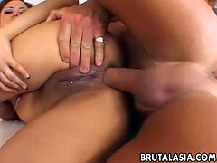 Alluring Japanese hottie with a big juicy ass Asa Akira enjoys being dicked hard. She bends over in front of her lover and receives a thick cock up her ass.